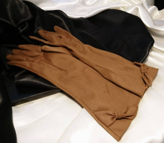 Gorgeous 1950's Asco gloves, long length formal gloves, bow detail cuffs