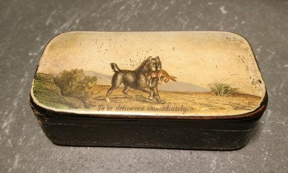 Rare Georgian snuff box, papier mache, dog and rabbit, hunting, hand painted