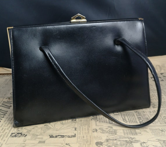 Vintage 50's handbag, black leather A frame bag