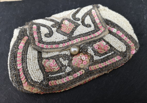 Vintage French beaded purse, Art Deco, clutch purse