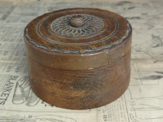 Vintage rustic wood trinket pot, wooden box, keepsake