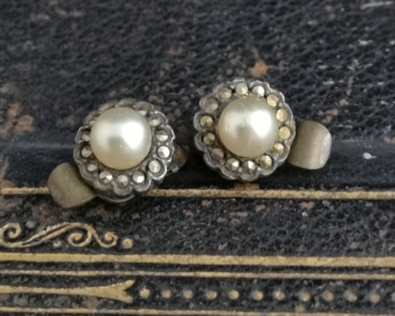 Vintage 20s clip on earrings, faux pearl and marcasite