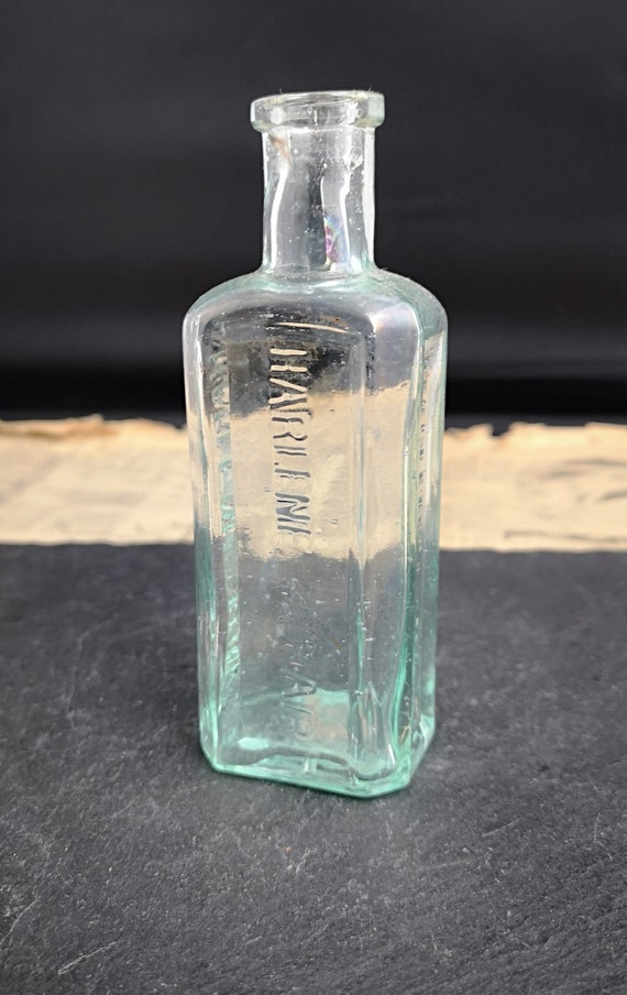 Antique glass bottle, Victorian hair tonic, Harlene for the hair