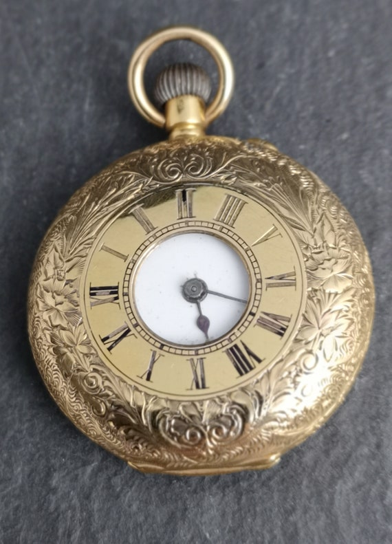 Antique 18ct gold half hunter pocket watch, Swiss, Victorian ladies fob watch, working