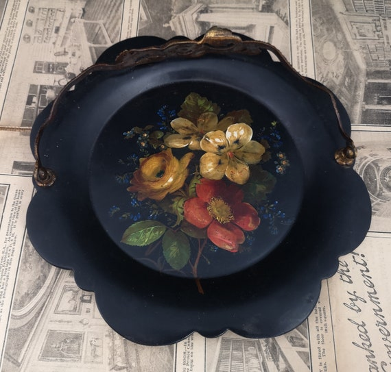 Victorian papier mache card tray, gilt handle and hand painted, Jennens and Bettridge