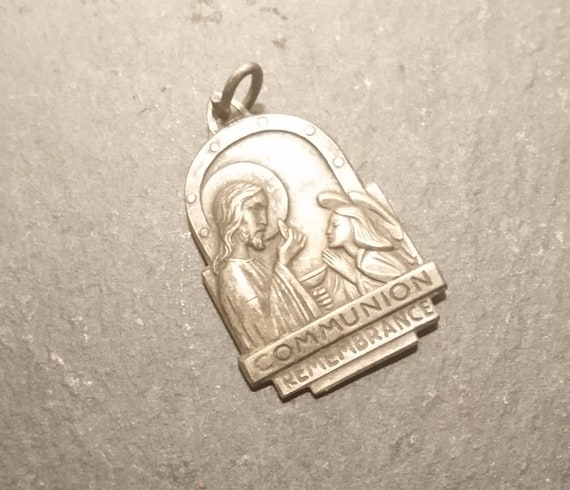 Vintage silver religious pendant, communion remembrance, holy communion, silver charm