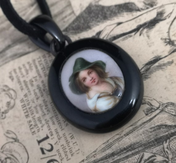 Victorian whitby jet mourning pendant, portrait locket