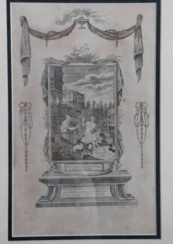 18th century engraving, David and Bathsheba, Doolittle, religious antique art work, 1795, framed and glazed, First bible in English original