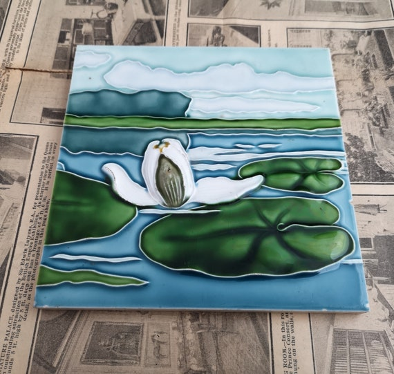 Vintage wall tile, decorative, Dutch mid century enamelled wall tile, waterlily