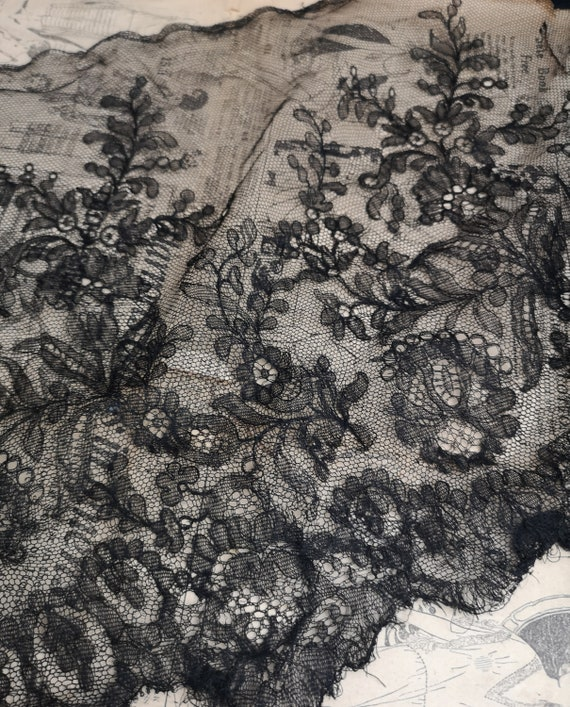 Antique lace length, black Victorian lace edging, crafts
