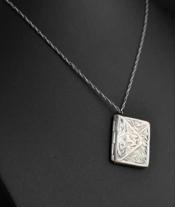 Antique silver stamp case, envelope pendant, silver necklace