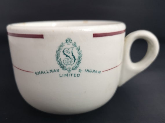 Vintage cafe mug, Smallman and Ingram, advertising