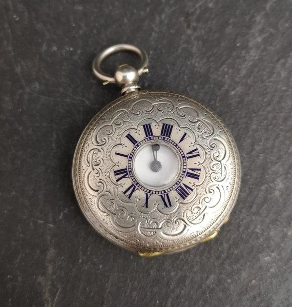 Antique silver half hunter pocket watch, floral, Victorian