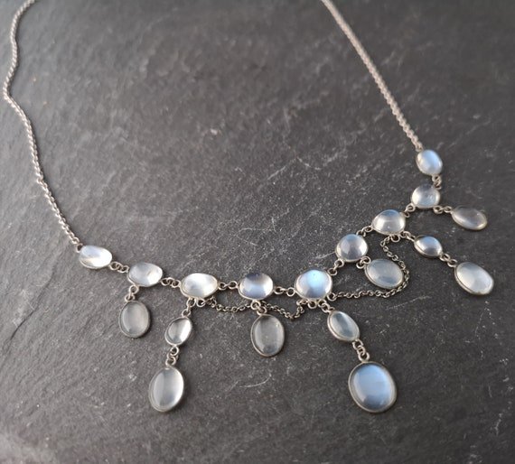 Antique moonstone drop necklace, sterling silver