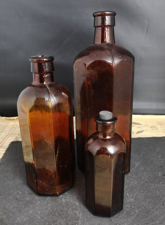 Antique brown glass bottles, set of 3, hexagonal glass, apothecary, medical