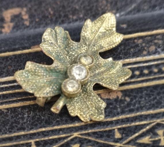 Antique Victorian gilt and paste leaf brooch