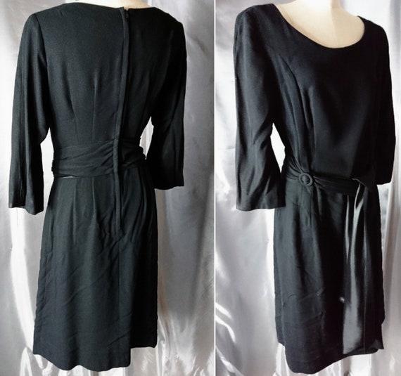Vintage 50's Black evening dress, sash waist, chiffon and satin, 1950's classic Lbd