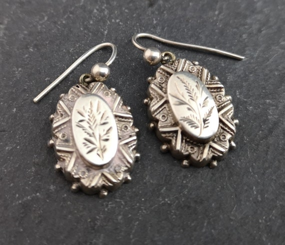 Antique Victorian silver earrings, aesthetic engraved drop earrings