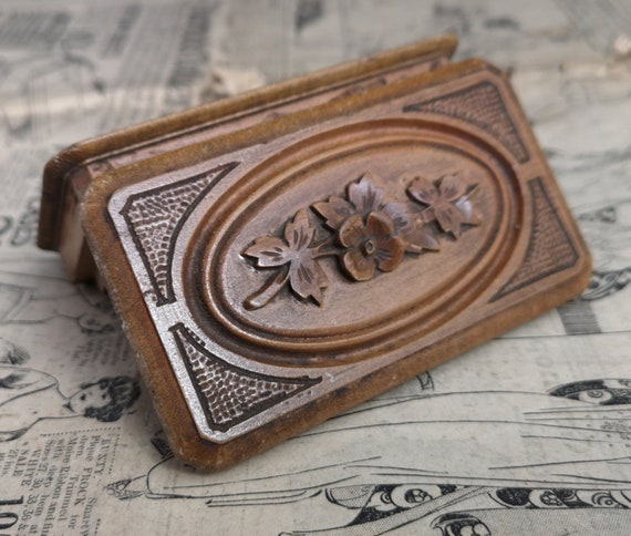Antique stamp box, Edwardian carved wooden stamp holder