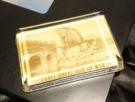 Antique Victorian paperweight, souvenir glass paperweight, Isle of Man, Laxey Wheel, rectangular paperweight