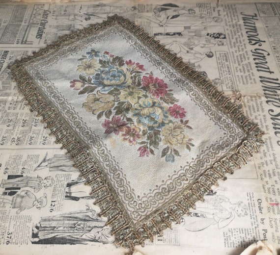 Antique Regency embroidered tray cloth, floral tapestry