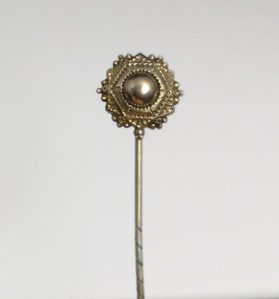 Antique gold target stick pin, Victorian cravat pin