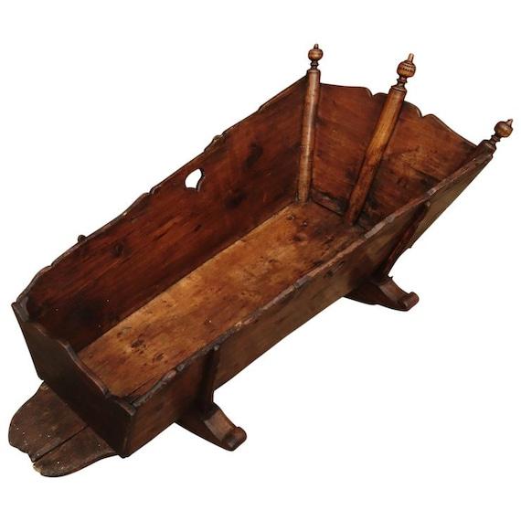 Antique 18th century baby cradle, rocking cot, George III oak baby cradle