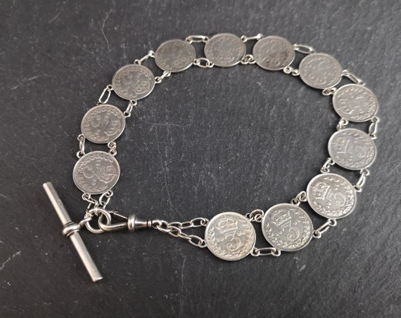 Victorian silver threepenny Albert chain, bracelet