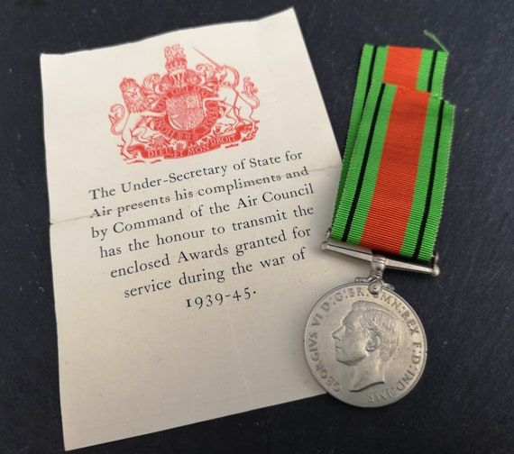 Vintage WW2 medal, The Defence Medal, British issue, Original box