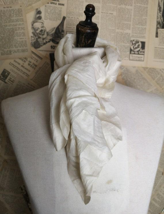 Antique mens silk scarf, Edwardian fine cream silk