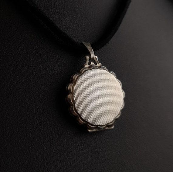 Vintage silver locket, mother of pearl, Rose - image 8
