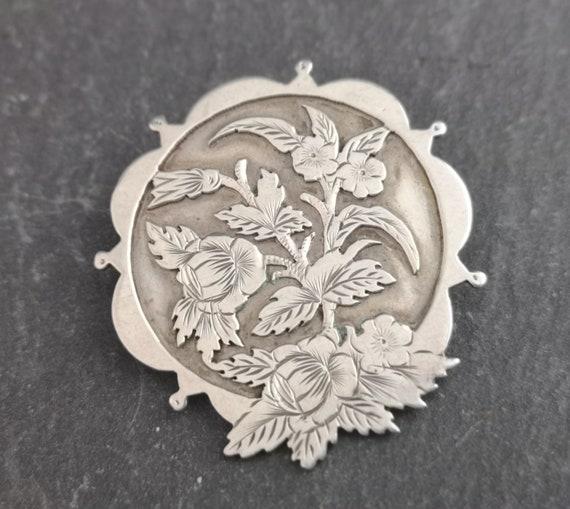 Antique Victorian aesthetic brooch, silver floral brooch