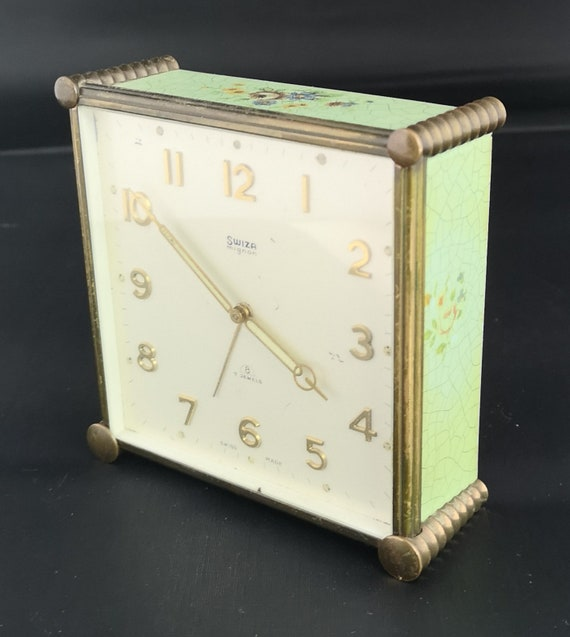 Vintage Swiza Mignon mantle clock, 50's alarm clock, not working