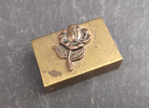 Vintage brass matchbook holder, rose, matchbook case