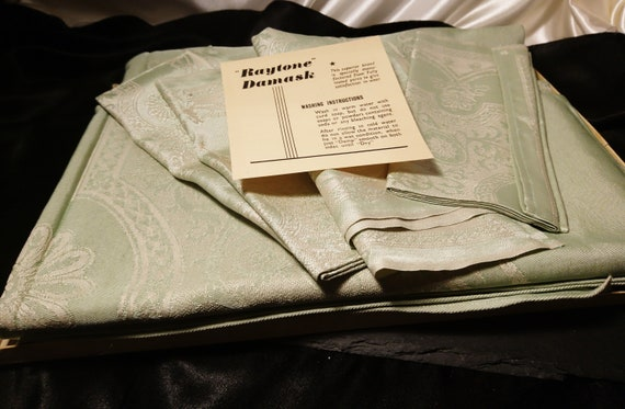 Vintage Irish linen set, Damask mint green table cloth and napkins