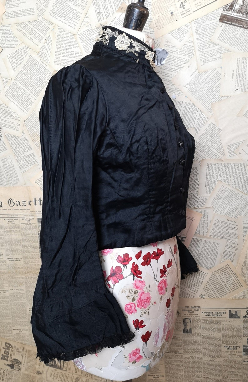 wide cuffs Antique Victorian mourning blouse French jet Button front