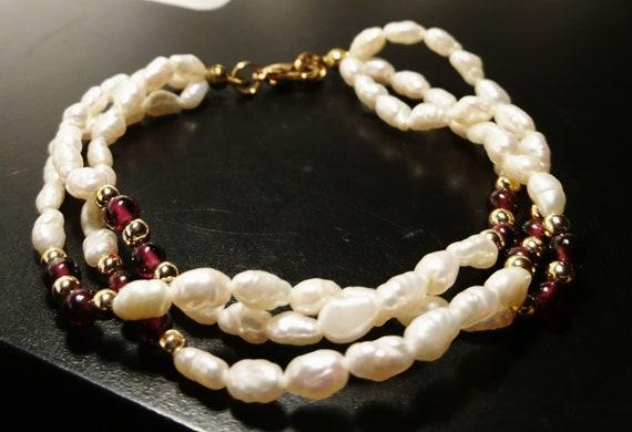 Vintage 30's rice pearl and garnet bracelet, multi strand, art deco bracelet