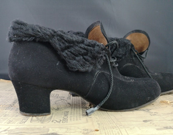 40's black suede booties, vintage stacked heel lace up boots