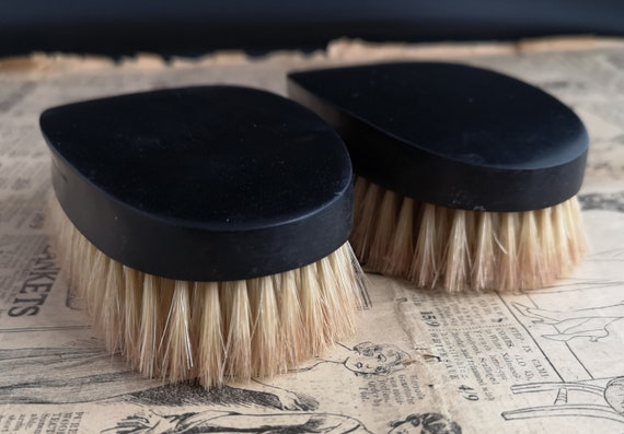 Antique ebony brush set, Edwardian mens hairbrush, barbershop