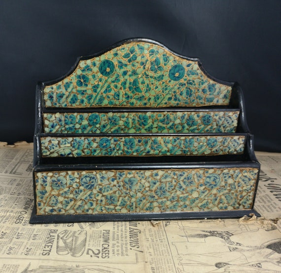 Vintage chinoiserie letter rack, floral and gilt
