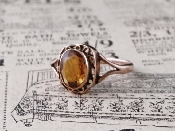 Vintage citrine ring, Art Nouveau, 1910's, Rose gold citrine dress ring