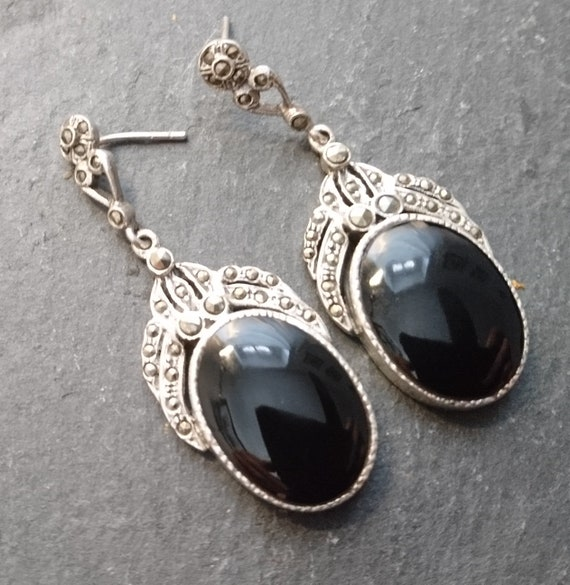 Vintage silver drop earrings, Art Deco, Marcasite and Onyx, Sterling silver 1920's earrings