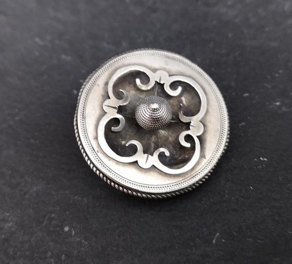 Antique mourning brooch, Georgian sterling silver