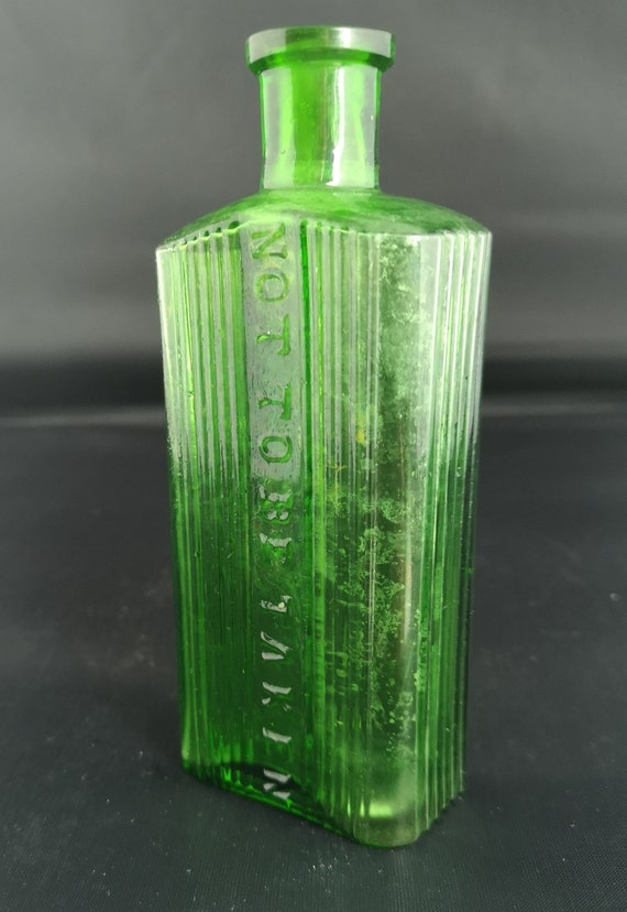Antique apothecary bottle, Green glass, medicine bottles