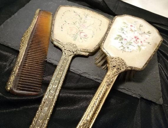 Vintage 30's petit point vanity set, gilt brass, matched dressing table set, mirror, brush, Delina vanity