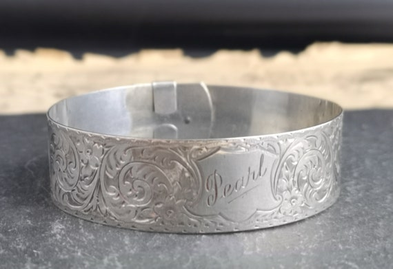 Vintage silver identity bangle, sterling silver engraved bracelet