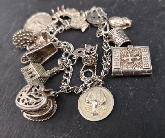 Vintage silver charm bracelet, loaded with charms, sterling silver