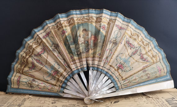 Antique French fan, silk and mother of pearl