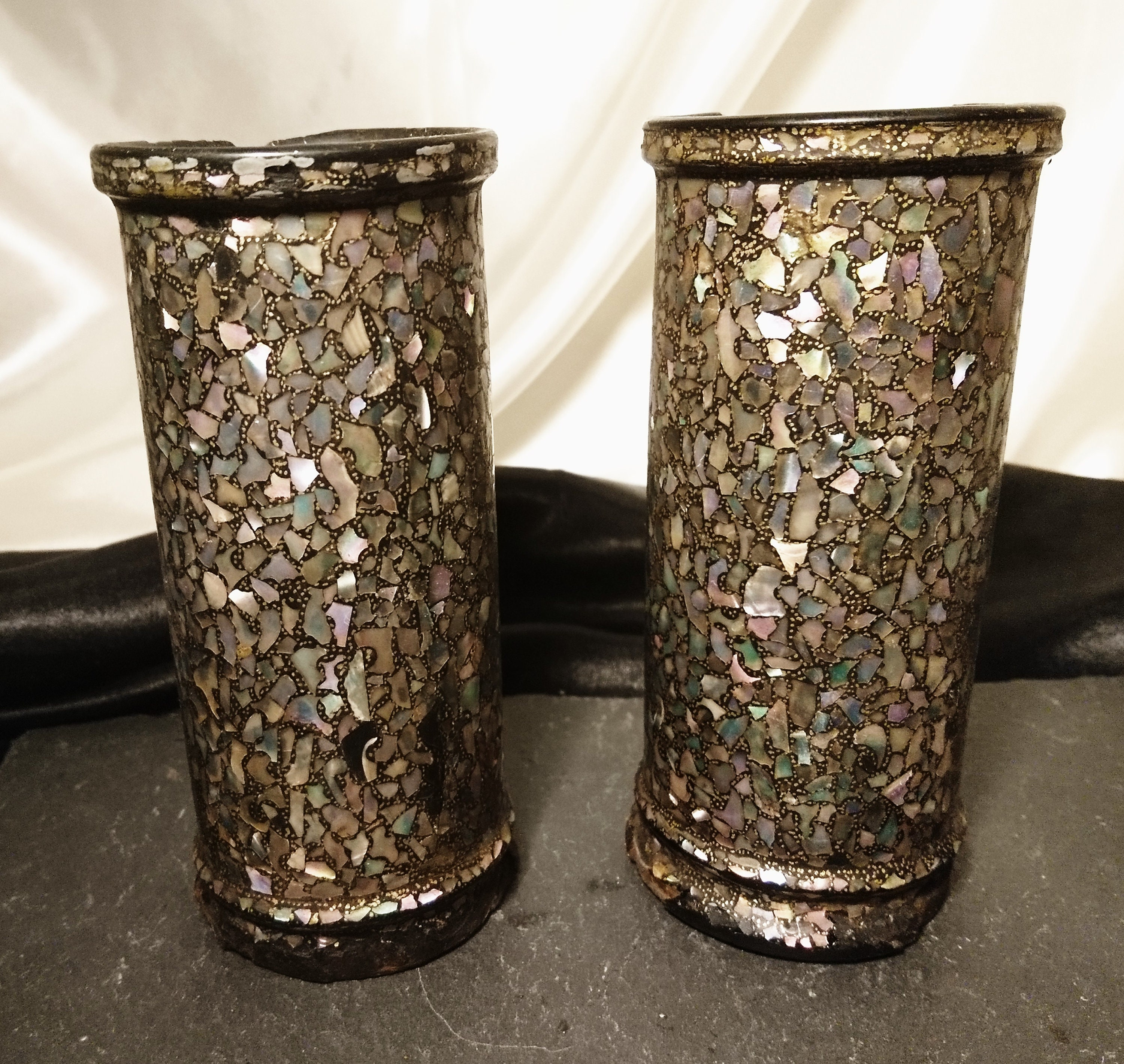 Antique Chinese Brush Pots Papier Mache Mother Of Pearl Inlay