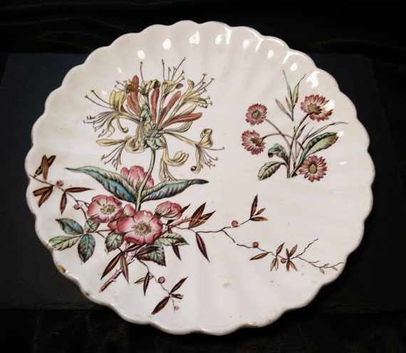 Antique aesthetic plate, Staffordshire, S. Hancock, Victorian plate, Wild Flower